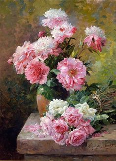 Albert Tibule Furcy de Lavault - - Roses and Peonies, Oil on canvas, 34 x 24 inches. Painting Still Life, Still Life Art, Art Floral, Flowers Background, Flowers Illustration, Still Life Flowers, Peony Print, Flower Oil, Botanical Art