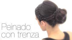 Peinado fácil con trenza. Easy hairstyle with braid.