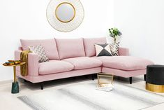 Coltar Lovis Corner Powder Pink Right Modern Classic Interior, Pink Couch, Cozy Sofa, Powder Pink, Studio Apartment, Sofas, Corner, Pastel, House Design