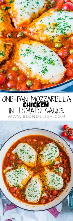 Make this easy mozzarella chicken with tomato sauce in just one pan and in under 30 minutes. I got inspired by Gordon Ramsay's chicken mozzarella recipe so I really hope you like my version, otherwise, I hope he won't find out. I kind of dread his scoldings. Lunch Recipes, Crockpot Recipes, Soup Recipes, Easy Recipes, Salad Recipes, Breakfast Recipes, Vegetarian Recipes, Chicken Recipes, Easy Meals