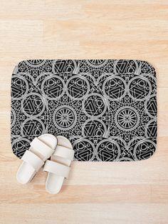 'Mystical Black Design' Bath Mat by Shane Simpson Bath Mat Design, Bath Mats, Foam Cushions, Mystic, Retro, Prints, Color, Black, Bath Rugs