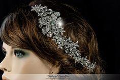 Floral Leaf Cluster Swarovski Crystal Hair Clip Comb, Floral Spray Crystal Bridal Wedding Hair Clip Comb, Bridesmaid Rhinestone Head Piece by BelovedSparkles on Etsy
