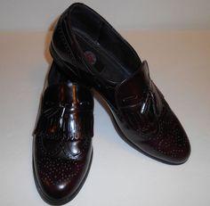 Endicott Johnson Leather Wingtip Tassle Loafer Men's Size 10 D Burgundy Shoe #EndicottJohnson #LoafersSlipOns