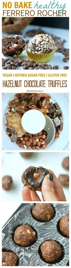 No Bake Healthy Ferrero Rocher. NO processed ingredients her. An easy hazelnut chocolate truffle and perfect clean eating sweet treat. Vegan truffle, refined sugar free truffle.