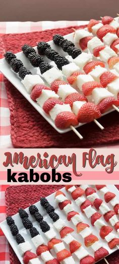 Memorial Day or Fourth of July, make these super easy American Flag Kabobs to serve to friends and family. Fruit kabobs are delicious and a nice alternative dessert. Potluck Recipes, Healthy Dessert Recipes, Easy Desserts, Holiday Recipes, Delicious Desserts, Barbecue Recipes, Top Recipes, Yummy Recipes, 4th Of July Cake
