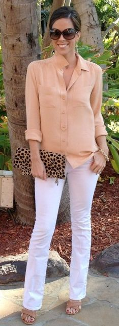 Outfit Posts: outfit post: peach/coral crepe blouse, white distressed jeans, brown t-strap sandals