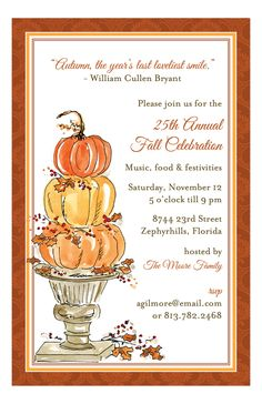 Pumpkin Topiary Invitation   fall party invitationsFall is in the air. Pumpkins are everywhere. The smell of cinnamon baked goods can be smelled coming from every local bakery. Butternut squash and other fall vegetables are in season. They can be used to make a delicious side dish or a warm peasant stew. Take advantage of the seasonal produce and baked goods. Send out some fun and attractive fall party invitations. Hosting a fall party is so much fun when it comes to decorating.