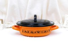 Vintage Retro Bright Orange Enameled Frying/ Cooking Pan,Cooking Pot and Lid…
