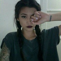 "Picture with the tag ""girl grunge and tattoo"" Double French Braids, Double Braid, American Apparel, Braided Hairstyles, Cool Hairstyles, Goth Baby, Grunge Photography, Hipster, Vogue"