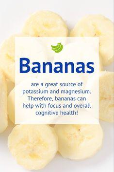 Bananas are great for brain health! Healthy Brain, Brain Food, Brain Health, Memory Problems, Balanced Diet, Bananas, How To Stay Healthy, Health And Wellness, Yummy Food