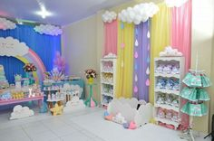 Birthday Party Rainbow Theme Baby Shower 16 Ideas For 2019 Diy Unicorn Birthday Party, Baby Girl Birthday Theme, Birthday Party Decorations, 2nd Birthday, Rainbow Theme Baby Shower, Baby Shower Themes, Cloud Party, Rainbow Parties, Baby Party