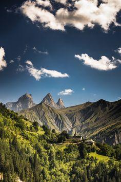Eglise devant les Aiguilles d'Arves. - Savoie   by Amandine Chamiot-Clerc