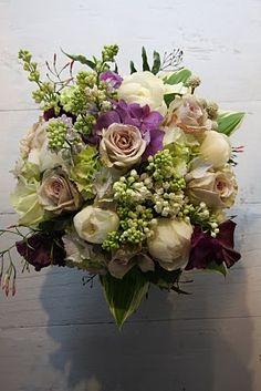 The Flower Magician: Vintage Wedding Bouquet to tone with Egg Plant Toned Bridesmaids Gowns