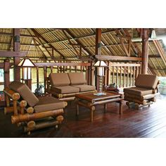 Collections of handcrafted and custom-made bamboo furniture, including beds and sofas Furniture Making, Furniture Sets, Gazebo, Pergola, Bahay Kubo, Bamboo Furniture, Living Room Sets, Beach Cottages, Outdoor Structures