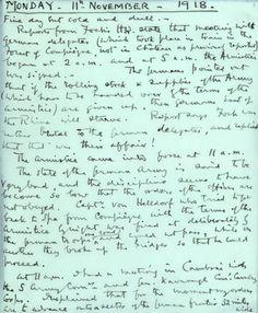 Field Marshal Sir Douglas Haig's Armistice Day diary