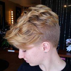honey blonde pixie undercut