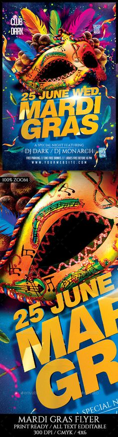 Mardi Gras. Print-templates Flyers Events. For better visibility brasil, brasileiro, brazil, brazilian, carnaval, carnival, carnival party, celebration, club, Costumes, darkmonarch, event, festa, festival, flyer, holiday, latin, mardi, mardi gras, mardi gras flyer, mardigras, mask, masks, and masquerade.