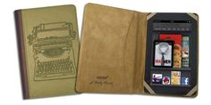 Verso Typewriter Case Cover by Molly Rausch (Fits Kindle Fire), Pink/Tan or Sage/Tan. -- 25% DISCOUNT for a limited time!