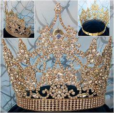 Continental Adjustable Rhinestone Gold Crown Tiara – CrownDesigners