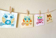 Paper Owls Mini Art Collection  Set of 4  Nursery by Sandra Vargas, $20.00 #owls #woodland #nursery