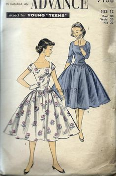 Vintage 1955 Square Neckline Full Drop Waist by sydcam123 on Etsy, $16.00