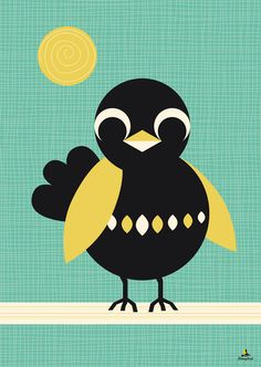 #PinWinSpring Poster zonnende Merel van MissHoneyBird op Etsy