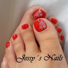 Ideas For Red Pedicure Designs Toenails Nailart Pedicure Nail Art, Toe Nail Art, Manicure And Pedicure, Pedicure Ideas, Flower Pedicure Designs, Pretty Toe Nails, Cute Toe Nails, Pretty Toes, Hair And Nails