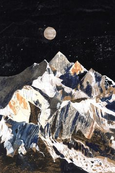 Kanchenjunga mountain art illustration Print in x in) Here is an Print in x in) of an original mixed media collage inspired by the third highest mountain in the world, Kanchenjunga This is Art And Illustration, Mountain Illustration, Art Illustrations, Painting Inspiration, Art Inspo, Collage Kunst, Map Collage, Canvas Collage, Painting Collage