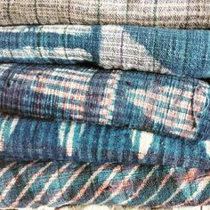 SUMMERTIME BLUES : #OMkhadi towels for bath or beach - getting out the water wrapped in our block print cottons is just a luscious as getting in. #summertimeblues #montauk #malibu #tarifa #cabarete #khadi #handwoven