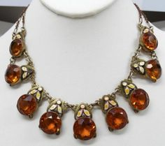 Antique-Art-Deco-Max-Neiger-Topaz-Czech-Glass-w-Dot-Leaf-Enamel-Necklace