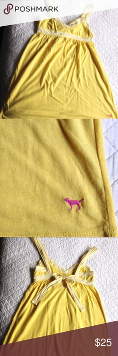 PINK Victoria's Secret yellow sundress w/🎀on back Beautiful PINK Victoria's Secret yellow sundress! Has white and yellow striped straps, and in the back is a darling keyhole that ties and makes a bow that flows down your back! Super cute and extremely comfortable! Gently used condition; NO flaws! Perfect for spring/summer season right around the corner ☺️💖💞. Open to offers within reason! PINK Victoria's Secret Dresses Midi