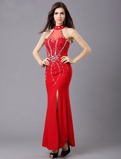Sheath Column Jewel Floor Length Red Evening Dress #eveningdresses Affordable Evening Gowns, Evening Dresses Online, Prom Dresses, Formal Dresses, Wedding Dresses, Dress Picture, Beautiful Gowns, Special Occasion Dresses, Red