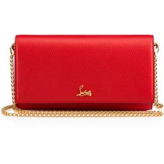 Boudoir Chain Wallet  Red Calfskin - Handbags - Christian Louboutin (2,900 AED) ❤ liked on Polyvore featuring bags, wallets, pocket wallet, christian louboutin wallet, chain strap shoulder bag, snap bag and 12 card wallet