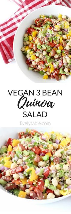 Get plenty of protein, fiber, and whole grains in a healthy and delicious 3 Bean Quinoa Salad! It's a great vegan and gluten free side for a summer barbecue or on it's own for a filling lunch. Delicious Vegan Recipes, Healthy Salad Recipes, Real Food Recipes, Vegetarian Recipes, Amazing Recipes, Tasty, Clean Eating Salads, Healthy Eating, Salad Dressing Recipes
