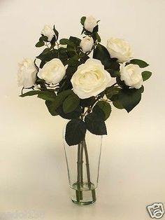Artificial Flower Arrangement In Vase Silk Roses Cream