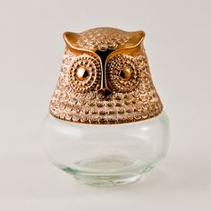 Owl Figurine Vintage Glass Bottle Folk Art Animal Statuette