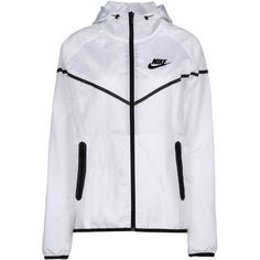 Nike Jacket ($115) ❤ liked on Polyvore featuring outerwear, jackets, tops, white, single breasted jacket, multi pocket jacket, zipper jacket, logo jackets and long sleeve turtleneck top
