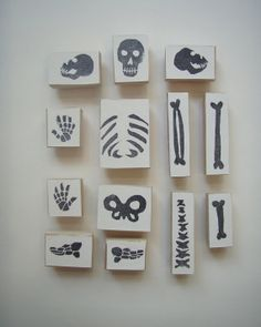 Skeleton Stamp Kit with Wooden Backs by natalieallsupedwards, $70.00