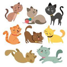 coleção gatos Colorido Vetor grátis