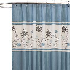 Monica Blue Fabric Shower Curtain