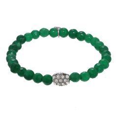 Green Agate Beaded Bracelet, accented with a sparkling pave oval silver bead. Stack them with a second set of green agate bracelets or create a trendy statement by mixing the green set with other colors. The more you wear, the more of a statement you make. They are easy to slip on and off so pile them on. Green, the favorite color of Mother Nature, symbolizes growth, harmony, and freshness. Enjoy its power and beauty while wearing this bright and bold fashion trend.