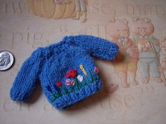 OOAK Hand made knit Blue Ooak baby DOLL by MirandasMiniatures