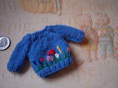 OOAK Hand made knit Blue Ooak baby DOLL by MirandasMiniatures, $16.00