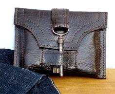 Braun Leder Brieftasche mit antiken Skeleton Key und Snap - Espresso Unisex MADE TO ORDER