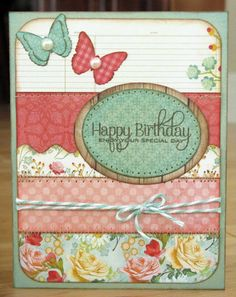 Snippets By Mendi: A Layout & Card to share. Beautiful Birthday Cards, Birthday Cards For Her, Handmade Birthday Cards, Greeting Cards Handmade, Card Making Inspiration, Making Ideas, Creative Inspiration, Spellbinders Cards, Butterfly Cards