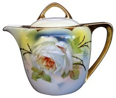 Russian White Rose Teapot