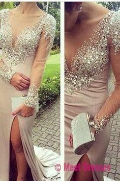 Beading Mermaid Sexy Real Made Prom Dresses,Long Evening Dresses,Prom Dresses On Sale,L08
