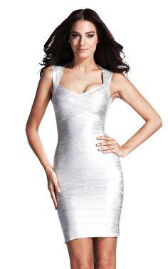 Shimmering silver in a bandage dress. A foil based bandage dress 7f148cb54