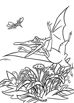 Ducky dino from Land before time coloring pages for kids