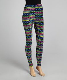 Blue Tribal Leggings by sun n moon #zulily #zulilyfinds